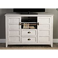 WE Furniture 52 Rustic Wood TV Console, White Wash