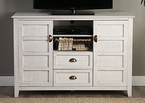 WE Furniture 52' Rustic Wood TV Console, White Wash
