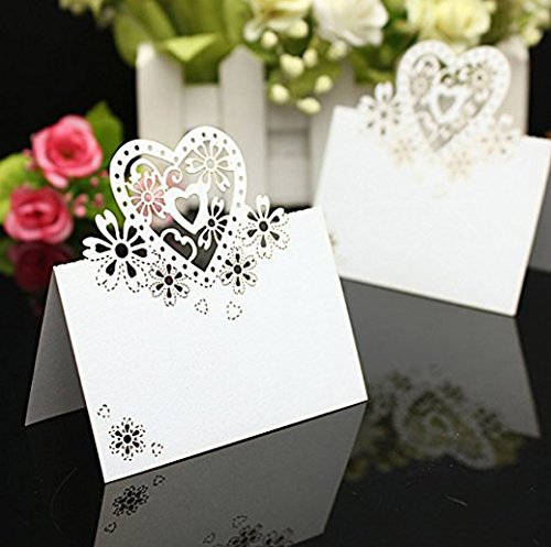 yueton Pack of 50 Cut Heart-Shaped Hollow Wedding Table Number Name Place Card Wedding Party Decoration