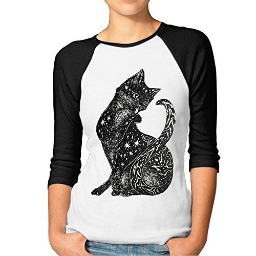 DonSir The Little Cat Women Essential Raglan T-shirt Black XXL