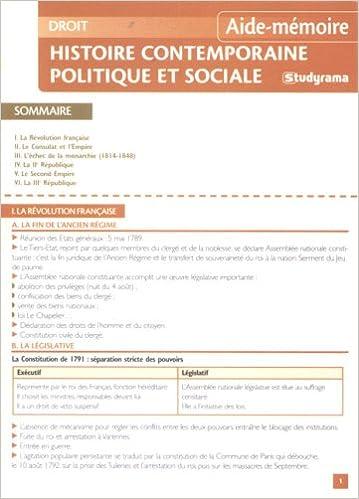 Livre Histoire contemporaine politique et sociale pdf ebook