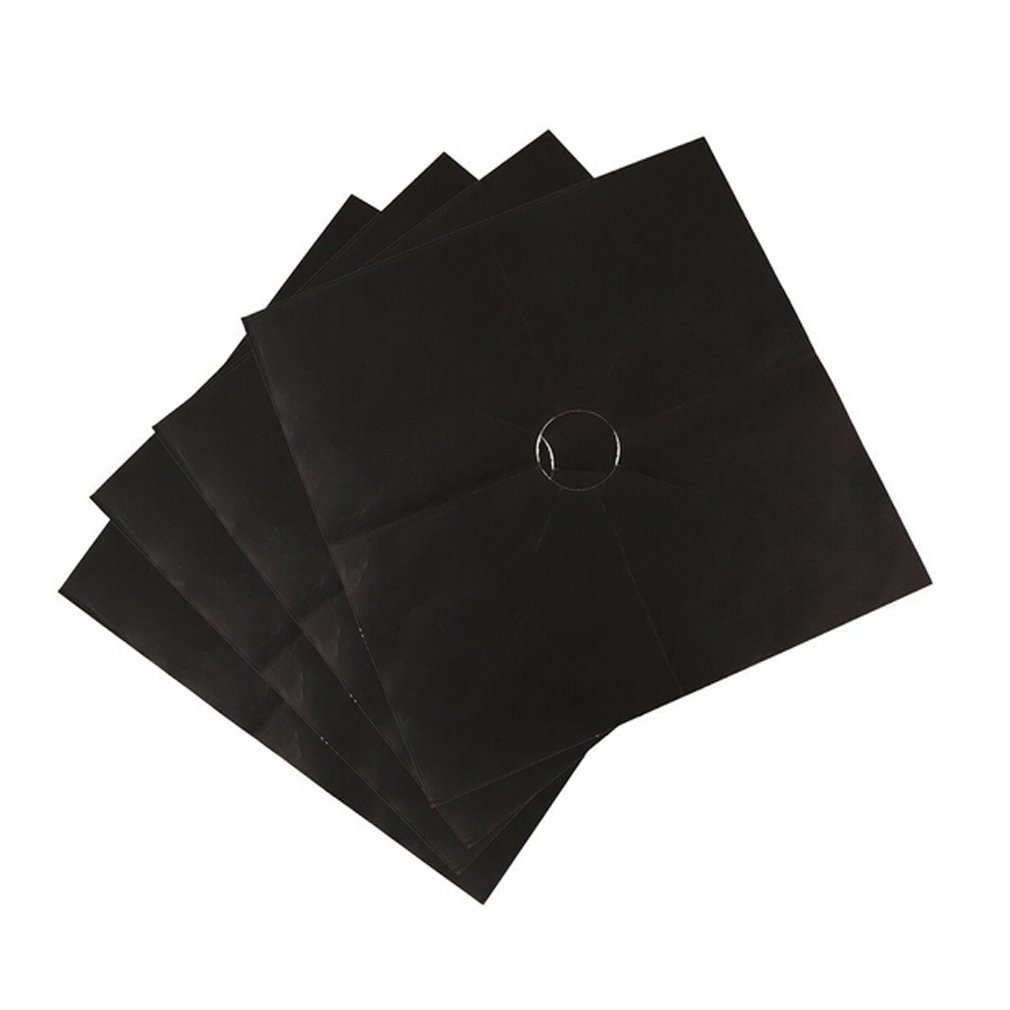 Lalang 4pcs Set Universal Gas Hob Protector Sheet Black 88_Store