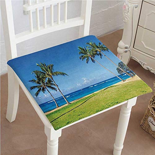 (Mikihome Squared Seat Cushion Coconut Palm Trees and Lawn on The Sandy Poipu in Hawaii Kauai Blue Green Garden Patio Home Kitchen Office Sofa Seat Pad 20