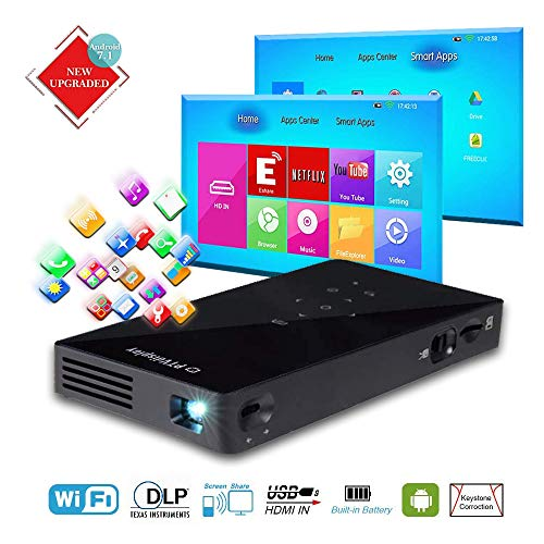PTVDISPLAY Portable Mini Projector, Android...