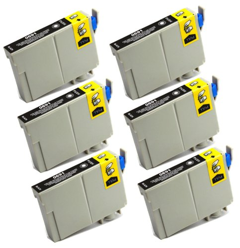6 Pack - Toners & More Remanufactured Black Inkjet Cartridge for Epson T069 #69, T069120 Black, Compatible with Epson Stylus CX5000, CX6000, CX7000F, C120, CX7400, CX8400, CX9400 Fax, CX7450, NX100, NX300, NX400, NX200, NX415, NX515, NX115, NX510, NX410,