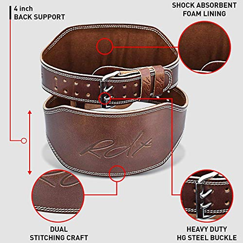RDX Weight Lifting Belt Cow Hide Leather Gym 4'' Training Back Support Fitness Exercise Bodybuilding, 2XL 40''-45'' (Waist Size not Pant Size), Brown by RDX (Image #4)