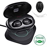 MICY Q1 True Wireless Earbuds - Bluetooth V4.2 TWS In-Ear Mini Headsets Earphones Headphones with QI-Compatible Wireless Charging Case (Sweatproof/Built-In Microphone/2200mAh Universal Power Bank)