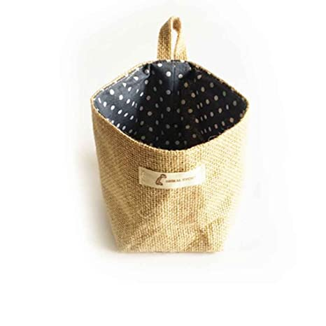 Omkuwl Saco de almacenamiento de sala de estar Bolsas de tela Colgando cesta de paño de la tienda de comestibles Cesta de la vivienda azul