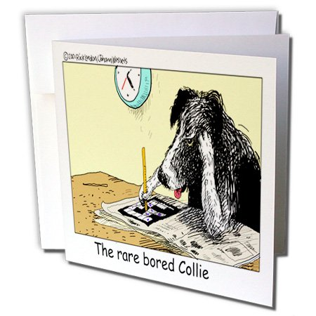 Londons Times Funny Dogs Cartoons - Bored Border Collie - 6 Greeting Cards with envelopes (gc_1469_1)