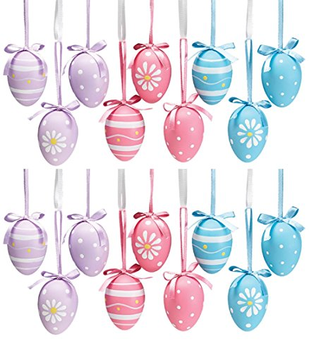 (Burton & Burton Easter Egg Ornaments 3 Designs 3 Colors Set of)