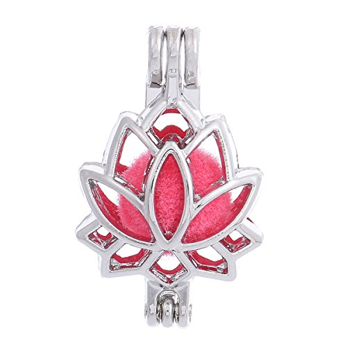 ZEEWELY 10pcs Lotus Flower Silver Plating Bead Cage Locket Pendant - Add Your Own Pearls, Stones, Rock to Cage,Add Perfume and Essential Oils to Create a Scent Fragrance Oil Diffusing Pendant Charms. - Lotus Flower Bead