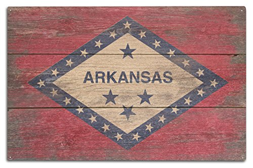 Lantern Press Arkansas - Rustic State Flag (10x15 Wood Wall Sign, Wall Decor Ready to - Sign Arkansas Wood