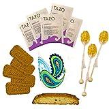 Hot Tea Gift Set in Mug Featuring Tazo Herbal Tea Bags, Honey Stix, Nonni's Biscotti, and Biscoff Lotus Cookies Women Food Gift (Paisley Mug)