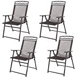 New Set of 4 Patio Folding Sling Chairs Steel Textilene Camping Deck Garden Pool