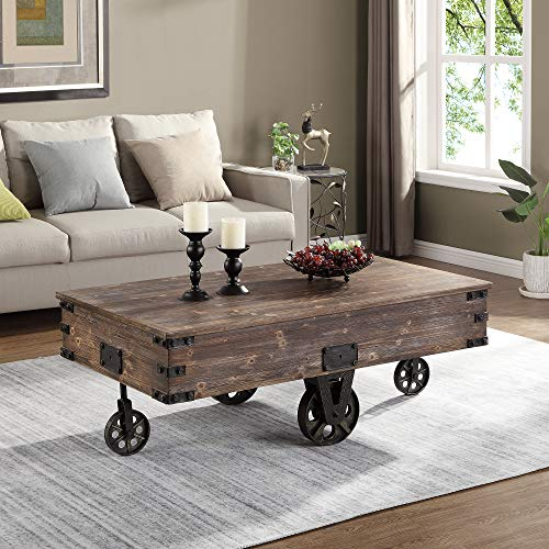 """FirsTime & Co. 70084 Factory Cart Coffee Accent Table, 45"""" x 17"""" x 29.5"""", Rustic Espresso/Antique Black"""