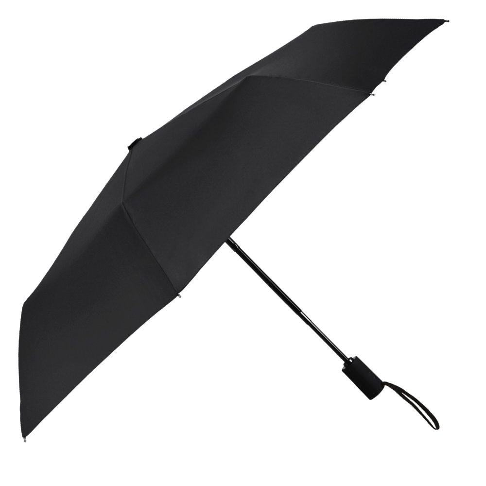 Plemo Classic Folding Umbrella for Business Travel Home, Auto Open Close Windproof, 210T Fabric Quick Dry, Black