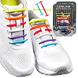 【Upgrade】 Lonlam No Tie Shoelaces Round Stretch Strings Silicone Elastic Bungee Rubber Laceless Lazy Tieless Shoe Laces for Adults Kids Toddlers Sneakers Athletic Running Boot Dress Shoes (Multicolor)