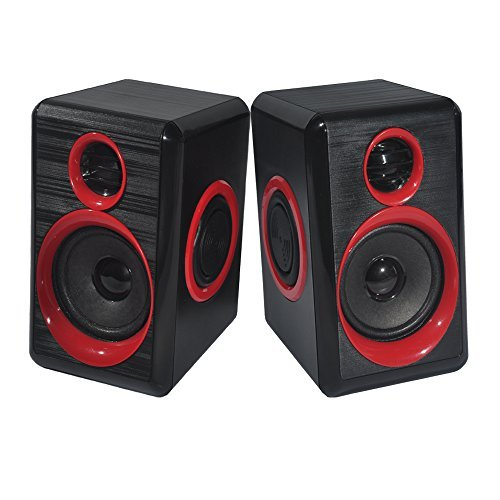Computer Speakers with Heavy Bass,Subwoofer, Volume Control, 3.5mm Audio, USB Wired Powered Built-in Four Loudspeaker Diaphragm Multimedia Speaker for PC/Laptops/Desktop/ASUS/ACER Computer (RED)