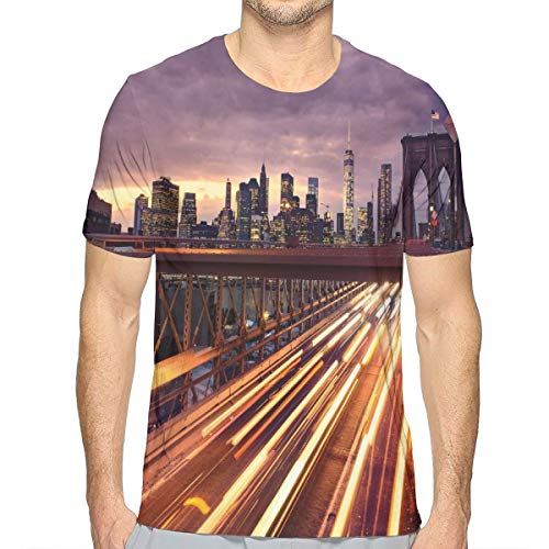3D Printed T Shirts,Brooklyn Bridge at Night Car Traffic in New York United States Transport