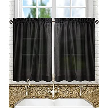 Ellis Curtain Stacey Tailored Tier Pair Curtains, 56  x 24 , Black