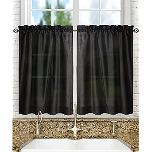 Ellis Curtain Stacey Tailored Tier Pair Curtains 56 X 36 Black