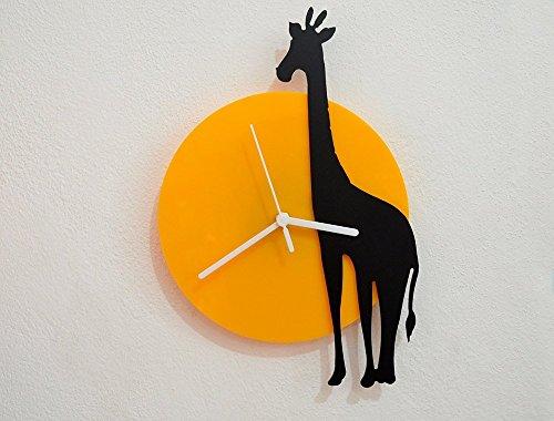 Giraffe - Black & Yellow Silhouette - Wall Clock