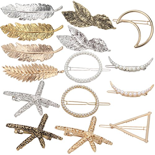 Hapdoo 15pcs Minimalist Dainty Gold Silver Geometric Metal Starfish Hairpin Hair Clip Clamps for Women Girls, Starfish, Circle, Triangle, Moon, (Gold Leaf Circle Pin)