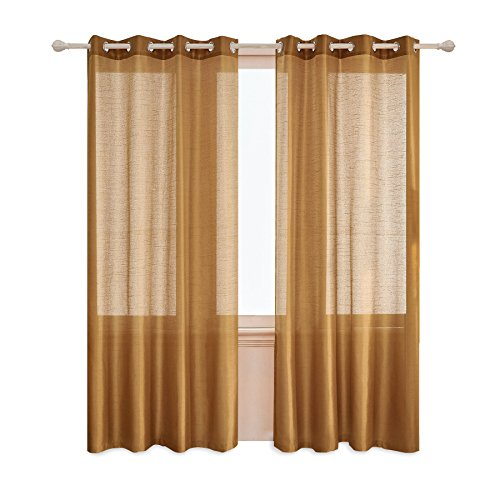 Subrtex 2 Faux Silk Semi-Sheer Window Elegance Curtains/Drape/Panels/Treatment and Solid Grommets for Bedroom52'' x 84'', Gold, 52' (Gold Curtains Panels 2)