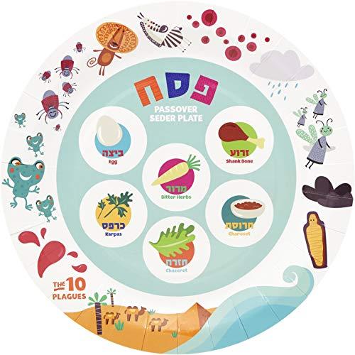 """Passover Ten Plagues Paper Goods Seder Plate Design Party Set - 9"""" Plates (48 Count)"""