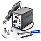 Genuine Yihua Model #858D Digital Hot Air Rework De-Soldering Station: Includes Main Unit with Hot Air Gun, 3 Sizes of Hot Air Nozzles & Solder Sucker Pen.