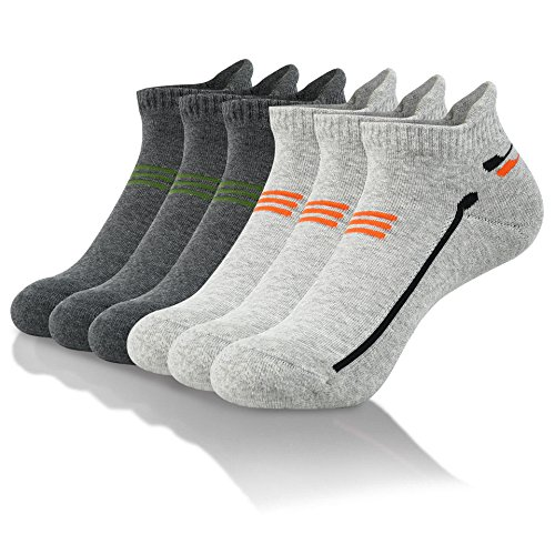 Joulli Men's Running Performance Low Cut Cushioned Athletic Socks (6 Pairs) Gray, Dark Gray ()