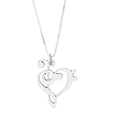 Amazon sterling silver oxidized love music treble bass clef amazon sterling silver oxidized love music treble bass clef pendant necklace 16 inches jewelry aloadofball Choice Image