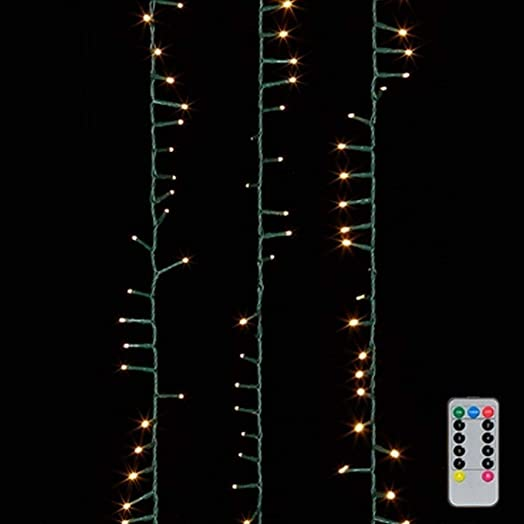 73.8 LED Snake Lights 73.8 Foot Garland with 1000 Warm White Lights ON Green Wire with Remote Control – RAZ Exclusive Twinkle Function