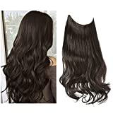 SARLA Dark Brown Halo Hair Extensions Long Wavy Curly Synthetic Hairpieces for Women Adjustable Size Transparent Wire Headband Heat Friendly Fiber 22 Inch 5.3 Oz No Clip (M01-22&6#)