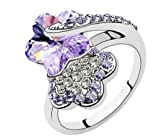 Mondaynoon-Swarovski-Elements-Austrian-Crystal-Rings-Double-PlumSize7-8ColorViolet