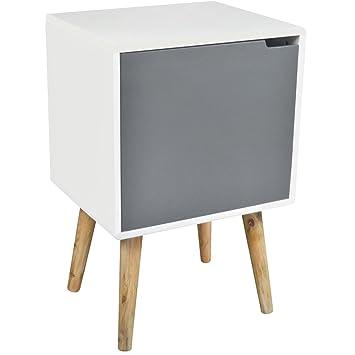 promobo meuble de rangement etagre avec porte en bois et pieds en bambou