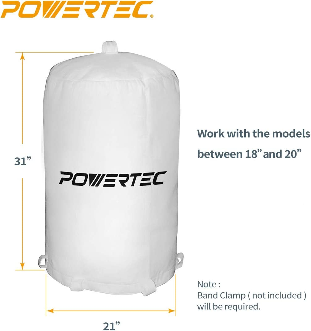 20Inch x 31Inch POWERTEC 70001 Dust Collector Bag New Free Shipping 1 Micron