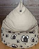 Natural Linen bean bag chair cover With heart Gray beanbag for kids and adults Love Gift Mouse print Large Eco friendly pouf With Insert Filling is not included