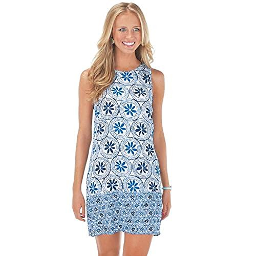 Beach Bum Dress (Mud Pie Women's Fashion Rosie Blocked Dress - Blue Floradallion (Large))