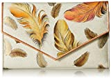 Anuschka Women's Handpainted Leather Check Book Wallet Checkbook Cover, I-Floating Feathers Ivory, One Size
