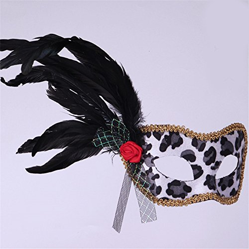 JinYiDian'Shop-Halloween mask Flannel Leopard Make-up Dance Show Painted Feathers Beauty Princess Fun -