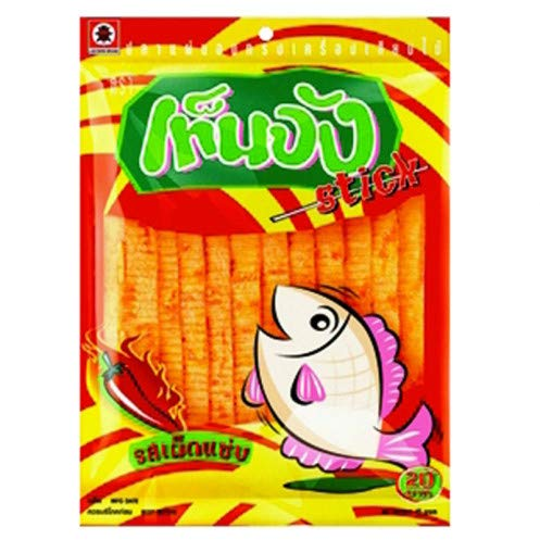 Ten Chan Brand, Fish snack Spicy flavor, Size 42.5g X 3 Packs by Ten Chan