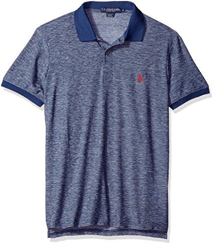 (U.S. Polo Assn. Men's Classic Fit Solid Short Sleeve Poly Pique Shirt, Navy-8028, Medium)