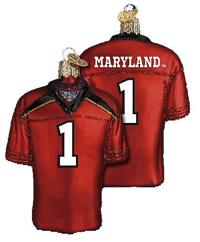 MARYLAND TERRAPINS FOOTBALL JERSEY GLASS ORNAMENT 4