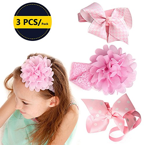 3 pcs Baby Girl Headbands with Flower and Hair Bows,Sealive Newborn Infant Babygirl Lace Head Bands Accessories for Fashion Clothes,Birthday Christmas Gift,Party,Photography Prop Ornament - Pink - Bans Fashion