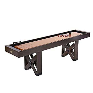 Lancaster 108 in 9 Foot Indoor Home Bar Shuffleboard Game Table w/Pucks & Sand