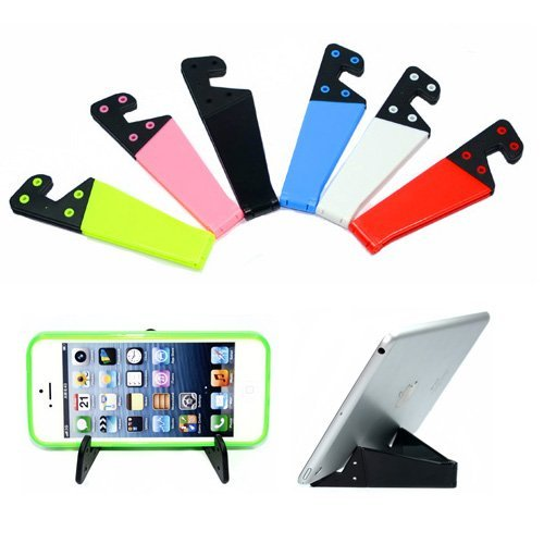 Geekercity 6Pcs Universal Colorful Portable Foldable V model Mobile Phone Desktop Stand Mount Holder Stander Cradle For Apple iPhone 6/6 Plus/5/5S/5C/4/4S, iPad Air 2/iPad 2 3 4 5/iPad Mini, Tablet PC, Samsung Galaxy S5/S4/S3/S2/Note4/Note3/Note2, HTC, Blackberry, Sony Xperia Z3, Motorola Oneplus one and Other Smartphones, Black, White, Red, Blue, Pink, Green