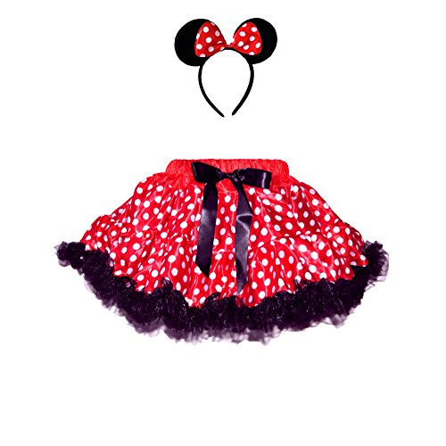 Red/White Polka Dots Mouse Costumes 2 Layers Skirt w/Ruffle Trim & Matching HeadBand (Large)