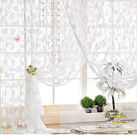 Butterfly Pattern Tassel String Door Curtain Window Room Curtain Divider White Elisona