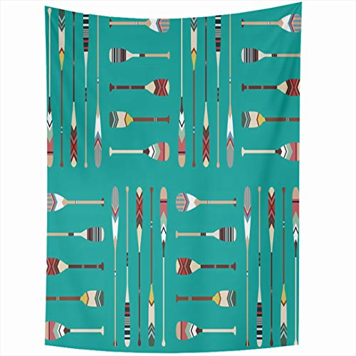 Premium Canoe Paddle Wall Decor - Ahawoso Tapestry 60 x 80 Inches Vintage Lake Canoe Paddle Pattern Oar Drawing Indian Wooden Activity Boat Mint Wall Hanging Home Decor Tapestries for Living Room Bedroom Dorm